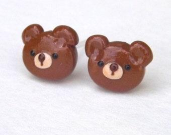 Brown Bear Earrings, Teddy Bear Earrings, Cute Earrings, Bear Stud Earrings,  Nickel Free, Hypoallergenic, Girls Earrings,  Fun Earrings