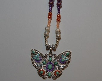 Multicolor Beaded Butterfly Pendant Necklace