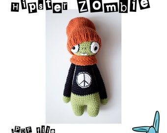 Hipster Zombie - amigurumi crochet pattern. Digital file. Language - English
