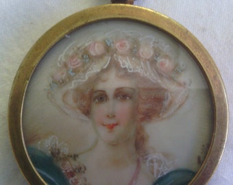 Antique Hand Painted Pendant