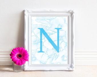 Alphabet Letters Printable, Letter N, Printable Monogram, Monogram Letters,Digital Letters, Digital Initial, INSTANT DOWNLOAD Printable Art