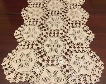 """41x18"""" Ecru Hand Crocheted Runner"""