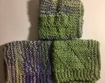 Set of 3 Large Knitted Dish Cloths - Shades of Hunter Green & Purple