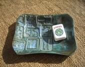Mahjong Soap Dish - Blue Mahjong Plate - Oriental Dish