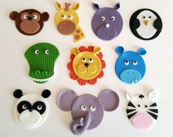 zoo circus safari jungle animal cupcake toppers fondant edible hand-made