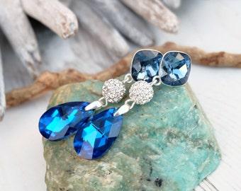 Long Sterling Silver Swarovski Crystal Earring Jewellery-Dangle Drop Bridesmaids Wedding Earring-Square Teardrop Deep Blue Shapphire Earring