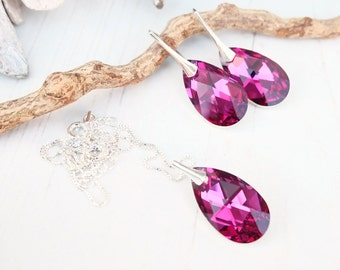 Sterling Silver Swarovski Earrings Necklace Set-Swarovski Crystal Jewellery-Fuchsia Hot Pink-Bridesmaids Teardrop Dangle Drop Earrings