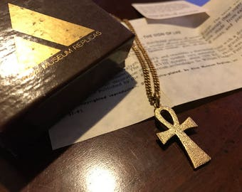 Vintage Egyptian Revival Gold Ankh Pendant Necklace - Sign of Life Amulet - Alva Museum Replicas