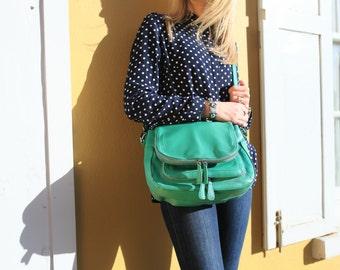 SALE Leather Bag / Green Shoulder Handbag / Leather Handbag / Leather Purse / Leather Messenger Bag / Leather Shoulder Bag /  Leather Bag