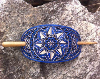 Geometrical blue hand carved leather hair barrette - hair accessories - Stick Barrette - Hair Slide