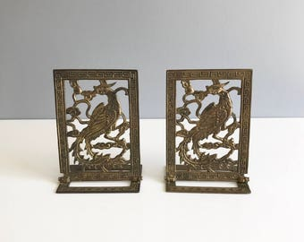 Brass Bookends / Pheasant Brass Bookends