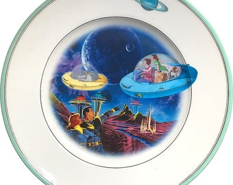 Coming Home - Flying Saucer - Vintage Porcelain Plate (*) - #0000