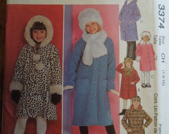 McCalls 3374, sizes vary, unlined coats, hat and scarf, UNCUT sewing pattern, craft supplies