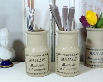 French Vintage Mustard Jar/Vintage Mustard Jar/French Mustard Crock/Maille Moutarde Stoneware Crock/French Stoneware Mustard Jar