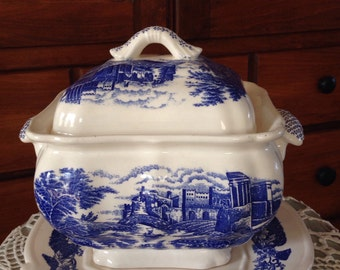 Blue and White Soup Tureen and Platter, Trimont Ware, Japan