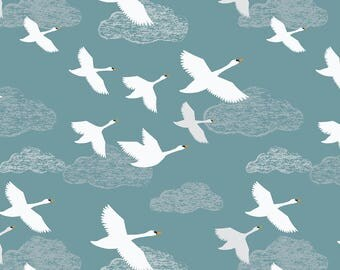 Down by the River A221.2 Swans in Flight on Teal Lewis & Irene Patchwork Quilting Dressmaking Fabric