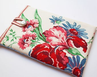 Fabric Tablet Cover eReader Kindle Vintage Floral Table Linen Padded Protective Case, Mothers Day Gift, Gifts under 20, For her