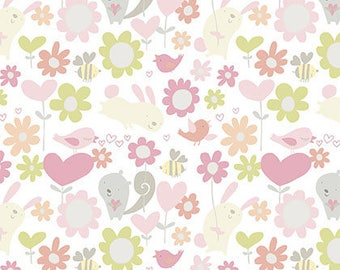 David Walker fabric Sweetheart Hugs DW114 Posie pink green grey birds flowers 100% Cotton Sew Quilting Crafts nursery children by the yard