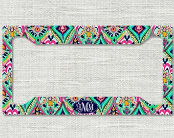monogrammed car tag frame floral jewels personalized license plate frame