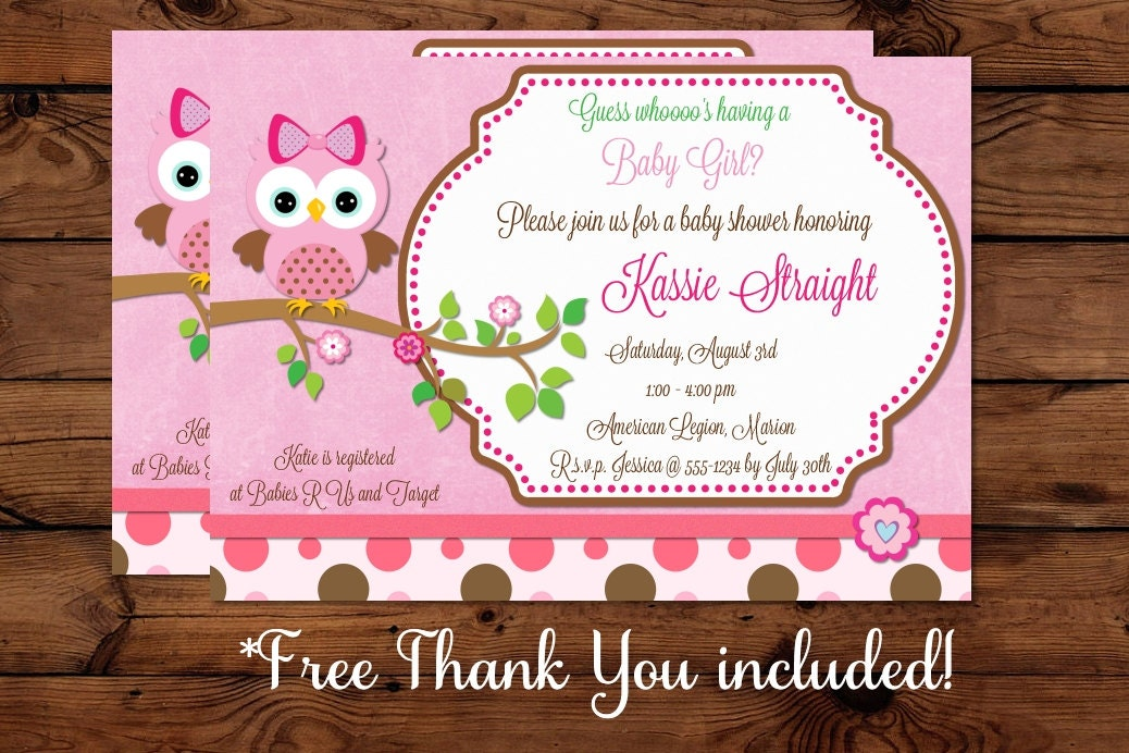 baby girl owl baby shower invitation by mybabiesbreath on etsy