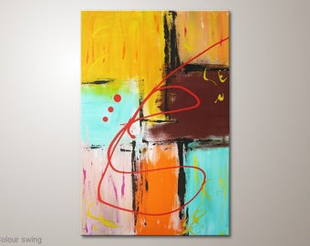 """MartinK abstract nice colorful fine art canvas painting """"Colour swing"""" 24x35"""" canvas wall art painting on frame.Unique multicolor modern art"""
