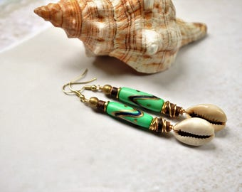 Sea Shell Earrings Green Earrings Boho Earrings Ethnic Earrings Afrocentric Earrings Cowrie Shell Earrings African Earrings African Jewelry