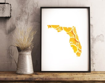 Florida + Orange Slices - State Outline Pattern - Wall Art