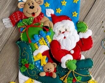 """Bucilla Santa's Helper ~ 18"""" Felt Christmas Stocking Kit #86706 Reindeer, Sleigh DIY"""