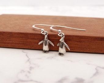 Small penguin drop earrings in sterling silver