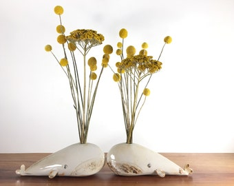 whale vase / bud vase / white whale / one whale