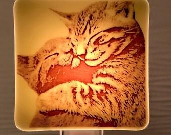 Kitten Hug Night Light Fused Glass