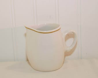 Vintage Franciscan Antigua Whitestone Ware Creamer (c. 1966) Interpace, Made in Japan, Mustard Band Decoration, Collectible Dinnerware