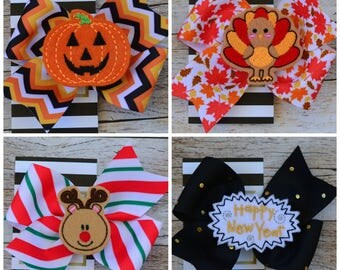 """Hair bow set 4"""" feltie hair bows Holiday collection Hairbows  year of bows - New Years Eve - Christmas - Thanksgiving - Halloween"""