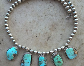 Five Turquoise Bead Necklace