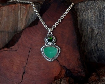 Chrysoprase & Chrome Diopside Sterling Silver Pendant Necklace ... Made to Order