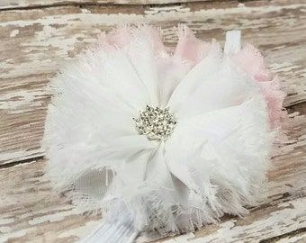 White and Pink Headband - Newborn Shabbie Flower Headbands - Sliver Bling - Baby Girl Head Band - Frayed Frilly Flowers - Light Pink - Bands