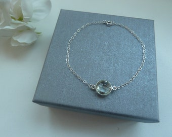 Sterling silver delicate chain bracelet with green amethyst