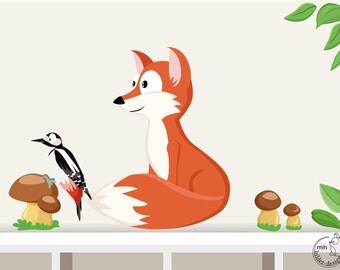 """Wall decal """"fox"""" from woodland serie I. Wall sticker for nursary baby children room wood forest animals"""