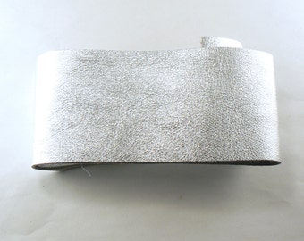 """Silver Leather - 2.25"""" X 24"""" Silver Split Leather - Metallic Silver Strap - Craft Leather - Genuine Leather - Leather Remnant"""