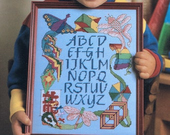 CROSS STITCH PATTERN - Kite Sampler Counted Cross Stitch Pattern - Alphabet Sampler - Vintage Cross Stitch