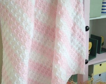 Pink and White stripy blanket perfect for baby or your knees.Diagonal striped blanket Baby shower, baby girl, new baby gift,christening gift
