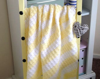 Yellow and White stripy blanket. Baby shower, baby girl or boy, new baby gift perfect for baby or your knees. Baby neutral, Christening gift