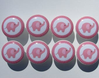 Pink Elephant Dresser Drawer Knobs Set of 8