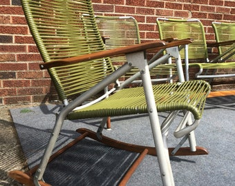 Mid century modern outdoor patio chairs by Telescope folding furniture set of 4