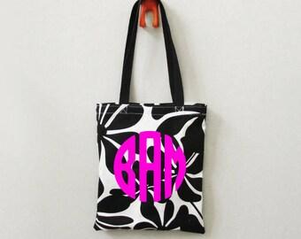 Tote Bag - Black & White Floral Tote Bag - Custom Tote Bag - for Travel, Bridesmaids Gifts, Teachers, Dance Team, Weekend Getaways, Everyday