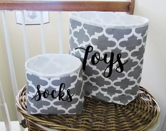 Fabric Storage Bin - Storage Organizer - Storage Basket - Home Decor - Set M & L