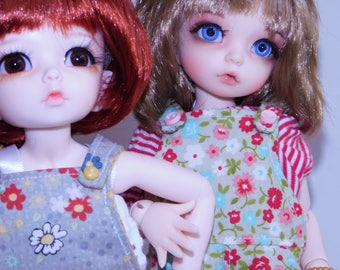 Gray and Red Flowered Shortalls for Your YOSD, 1/6 BJD, Little Fee Dolls