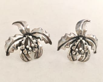 Vintage Mexican Sterling Silver Orchid Flower Screw Back Earrings Hecho En Mexico, 925 Silver