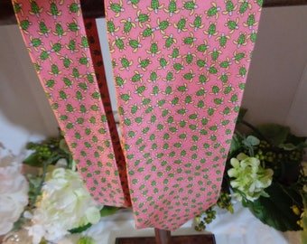 Salmon Pink Green Turtles by Peter Blair Men's Tie Father's Day  100% Silk
