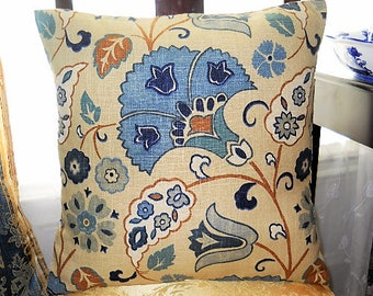 Pillow Cover, Modern Pillow Cover, Decorative Pillow Case, 18'' x 18'' Pillow Cushion Cover, Blue/Brown, Pillow Sham, Sofa/Bed/Chair/Lounge